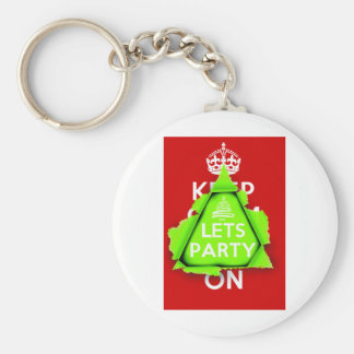 KEEP CALM? No way, Lets Party, it's Christmas Keychain