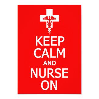 Keep Calm & Nurse On invitation, customize Card