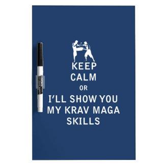 Keep Calm or i'll Show You My Krav Maga Skills Dry Erase Board