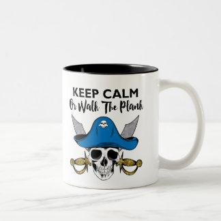 Keep Calm or Walk The Plank Talk Like A Pirate Two-Tone Coffee Mug