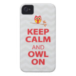 Keep Calm, Owl On Red Yellow gray chevron iPhone 4 iPhone 4 Case-Mate Case