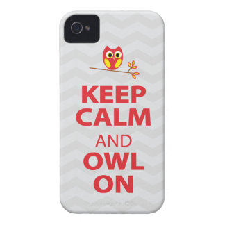 Keep Calm, Owl On Red Yellow gray chevron iPhone 4 iPhone 4 Case