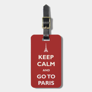 Keep Calm Paris Red Luggage Tag