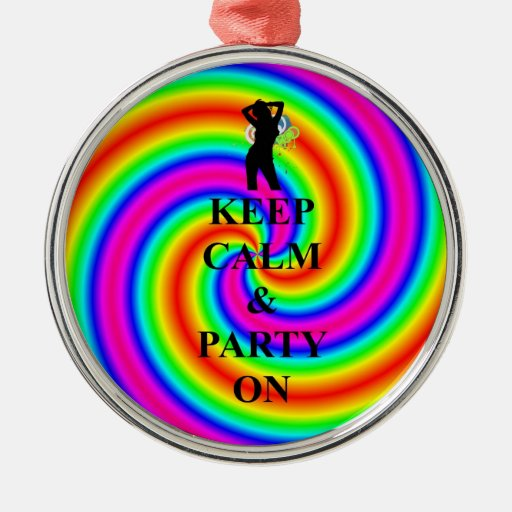 keep calm & party on christmas tree ornaments