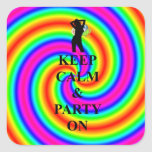 Keep calm & party on square sticker