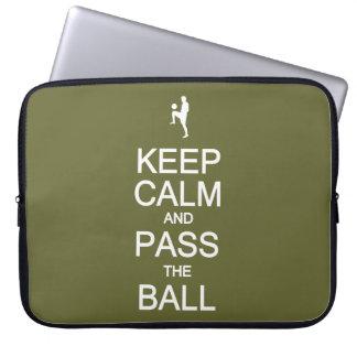 Keep Calm & Pass The Ball custom laptop sleeve