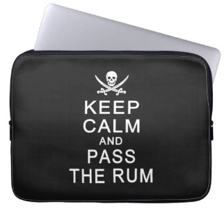 Keep Calm & Pass The Rum laptop sleeves