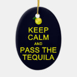 Keep Calm & Pass The Tequila ornament, customize Double-Sided Oval Ceramic Christmas Ornament