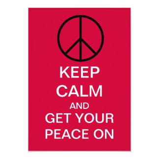 "KEEP CALM PEACE PARTY Custom Invitations 5"" X 7"" Invitation Card"