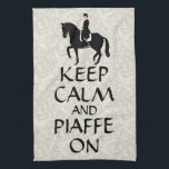 """Keep Calm &amp; Piaffe On Dressage Hand Towel<br><div class=""""desc"""">Cute horse design of a dressage rider and the caption &quot;Keep Calm and Piaffe On&quot;. A perfect gift for the accomplished dressage equestrian rider.  If you like this dressage art,  check out some of my other horse designs.</div>"""