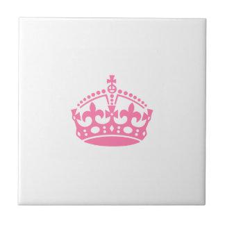 Keep calm pink victory crown tile
