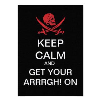 KEEP CALM Pirate Day Custom Invites Linen