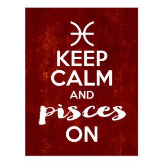 Keep Calm Pisces On Birthday Horoscope Postcard