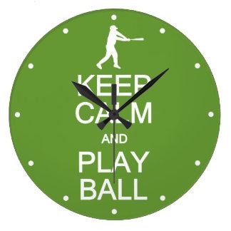 Keep Calm & Play Ball custom color wall clock