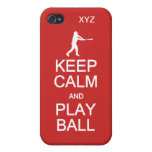 Keep Calm & Play Ball custom monogram cases iPhone 4/4S Cover