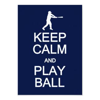Keep Calm & Play Ball invitation, customize Card
