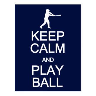 Keep Calm & Play Ball postcard, customize Postcard
