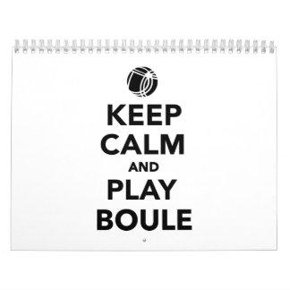 Keep calm play Boule Boccia Calendar