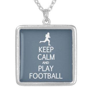Keep Calm & Play Football custom color necklace