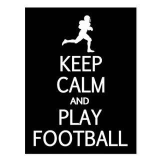 Keep Calm & Play Football custom color postcard