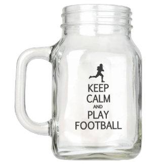 Keep Calm & Play Football Mason jars