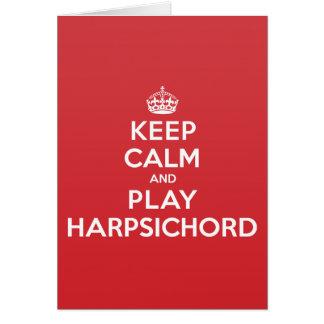 Keep Calm Play Harpsichord Greeting Note Card