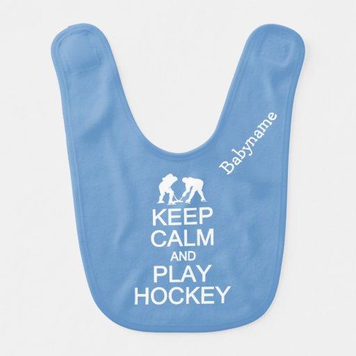 Keep Calm & Play Hockey custom color baby bib