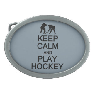 Keep Calm & Play Hockey custom color belt buckle