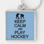 Keep Calm & Play Hockey custom color key chain