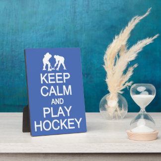Keep Calm & Play Hockey custom color plaque