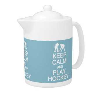 Keep Calm & Play Hockey custom color teapot