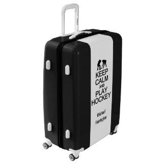 Keep Calm & Play Hockey custom name & color Luggage
