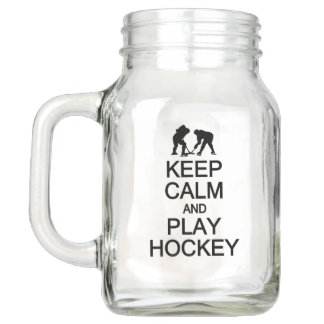 Keep Calm & Play Hockey Mason jars