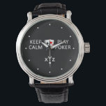 """KEEP CALM &amp; PLAY POKER custom watches<br><div class=""""desc"""">Change the text field to what you want. You can also change the font and its size and color by using the &quot;Customize it&quot; function, as well as change (edit) the background color of this item to any color of your choice. See my store for more items with this design....</div>"""