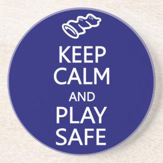Keep Calm & Play Safe custom coaster