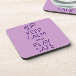 Keep Calm & Play Safe custom coasters