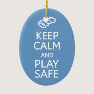Keep Calm & Play Safe custom color ornament