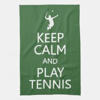 Keep Calm & Play Tennis custom color kitchen towel