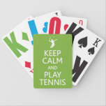 """Keep Calm &amp; Play Tennis custom color playing cards<br><div class=""""desc"""">A great gift for a tennis player! Using the &quot;Customize it&quot; function,  you can change (edit) the background color of this item,  as well as add your own text if you wish. See my store for more items with this design.</div>"""