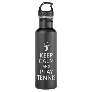 Keep Calm & Play Tennis custom Water Bottle