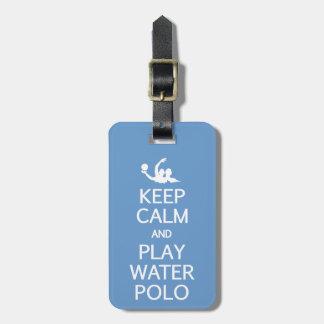 Keep Calm & Play Water Polo custom luggage tag