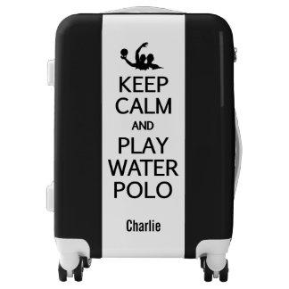 Keep Calm & Play Water Polo custom name & color Luggage