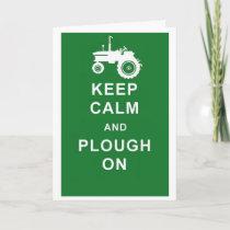 KEEP CALM PLOUGH ON TRACTOR BIRTHDAY GREETINGS CAR CARD