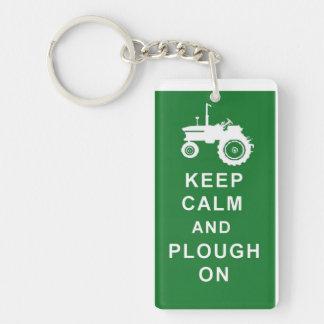 KEEP CALM PLOUGH ON TRACTOR KEYRING FARM BIRTHDAY Single-Sided RECTANGULAR ACRYLIC KEYCHAIN