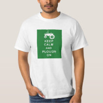 KEEP CALM PLOUGH ON TRACTOR T SHIRT BIRTHDAY FARM