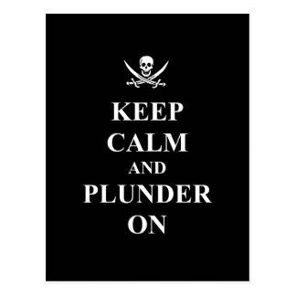 Keep calm & plunder on postcard