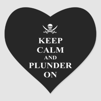 Keep calm & plunder on heart stickers