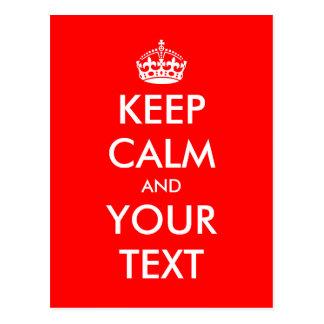 Keep calm postcard | Personalizable text design