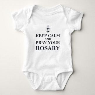 Keep Calm & Pray Your Rosary Black on White Baby Bodysuit
