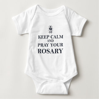 Keep Calm & Pray Your Rosary Black on White Infant Creeper